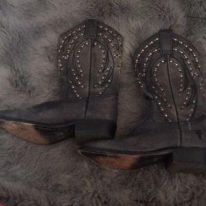 Used grey black studded Frye boots size 7